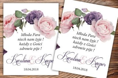 Etykiety samoprzylepne na butelki weselne, ślubne z motywem fioletowych i rożowych róż