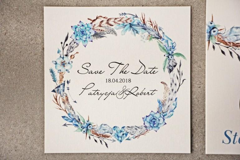 Bilecik Save The Date do zaproszenia - Pistacjowe nr 21 - Błękitne w stylu boho