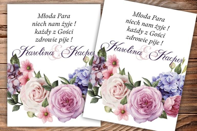 Etykiety samoprzylepne na butelki weselne, ślubne z motywem róż i bzu
