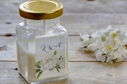 Świeczki - nowe podziękowania i upominki dla gości weselnych, ślubnych. Delikatne białe piwonie z dodatkiem leśnej paproci