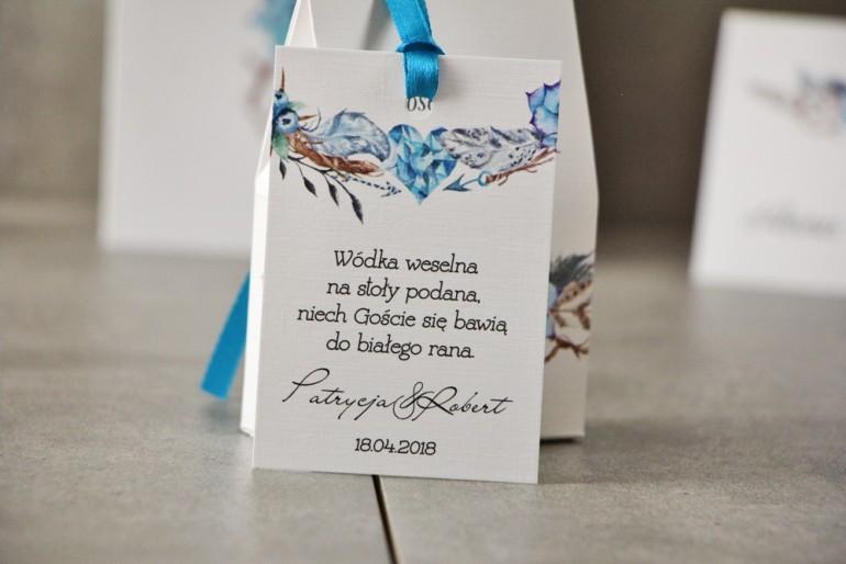 Zawieszka na butelkę, Wódka weselna, ślub - Pistacjowe nr 21 - Błękitny wzór w stylu boho