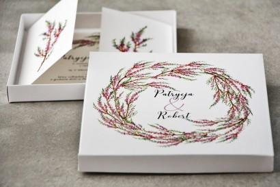 Efektowne Zaproszenie ślubne w pudełku - Pistacjowe nr 22 - Jesienny wianek wrzosu