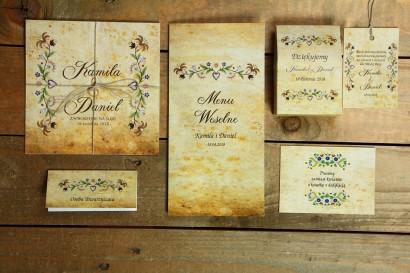 Zestaw próbny zaproszeń ślubnych wraz z dodatkami z kolekcji Folk nr 3