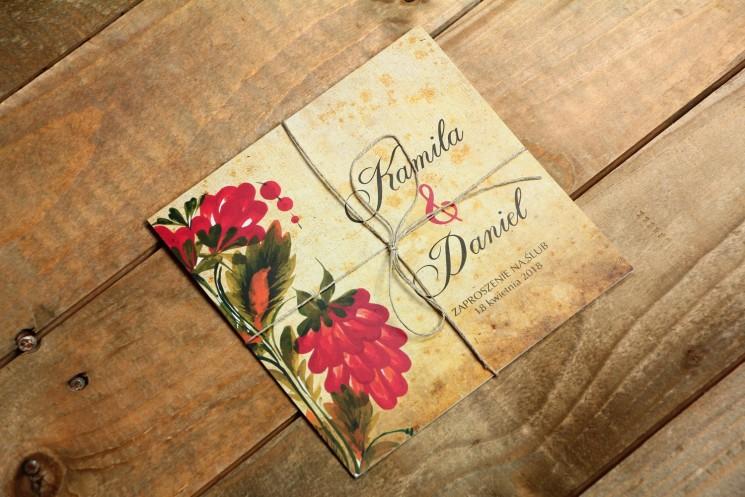 Ludowe zaproszenia ślubne z folklorystyczną kwiatową grafiką