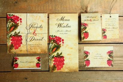 Zestaw próbny zaproszeń ślubnych wraz z dodatkami z kolekcji Folk nr 7