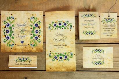 Zestaw próbny zaproszeń ślubnych wraz z dodatkami z kolekcji Folk nr 2