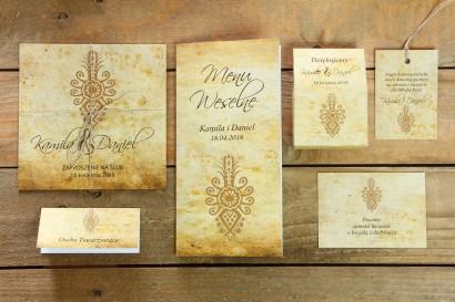 Zestaw próbny zaproszeń ślubnych wraz z dodatkami z kolekcji Folk nr 6