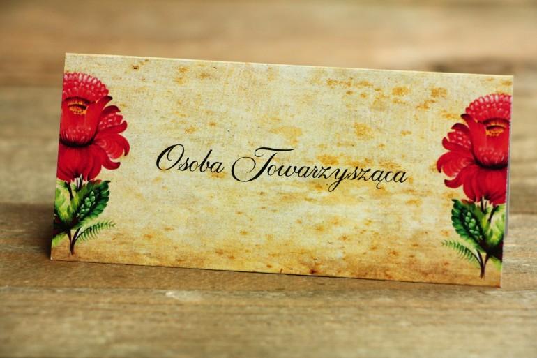 Ludowe Winietki, wizytówki na stół weselny, z folklorystyczną kwiatową grafiką.