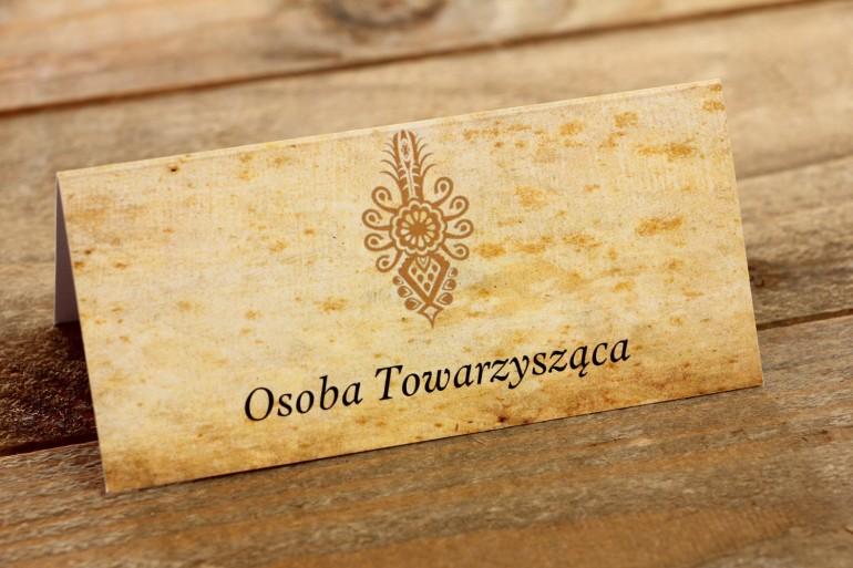 Góralskie, zakopiańskie Winietki, wizytówki na stół weselny z parzenicą.