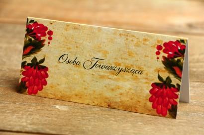 Ludowe Winietki, wizytówki na stół weselny z folklorystyczną kwiatową grafiką.