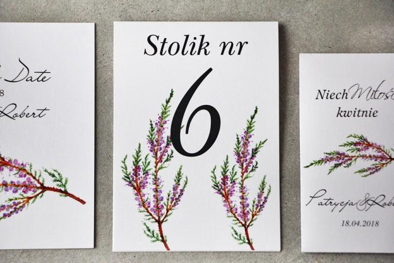 Numery stolików, stół weselny, Ślub - Pistacjowe nr 22 - Gałązki jesiennego wrzosu