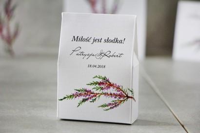 Pudełeczko stojące na cukierki, podziękowania dla Gości weselnych - Pistacjowe nr 22 - Gałązka jesiennego wrzosu