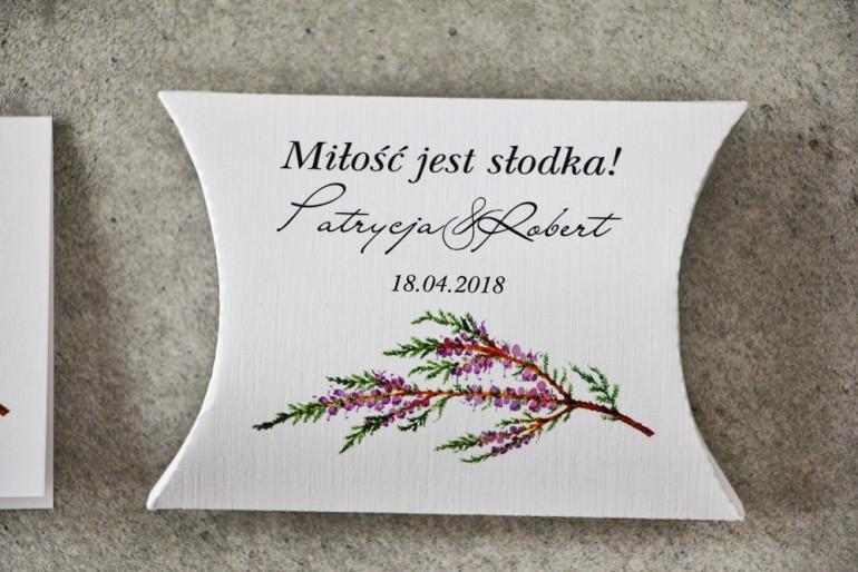 Pudełeczko poduszeczka na cukierki, podziękowania dla Gości weselnych - Pistacjowe nr 22 - Gałązka jesiennego wrzosu