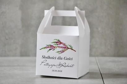 Pudełko na ciasto kwadratowe, tort weselny - Pistacjowe nr 22 - Gałązka jesiennego wrzosu