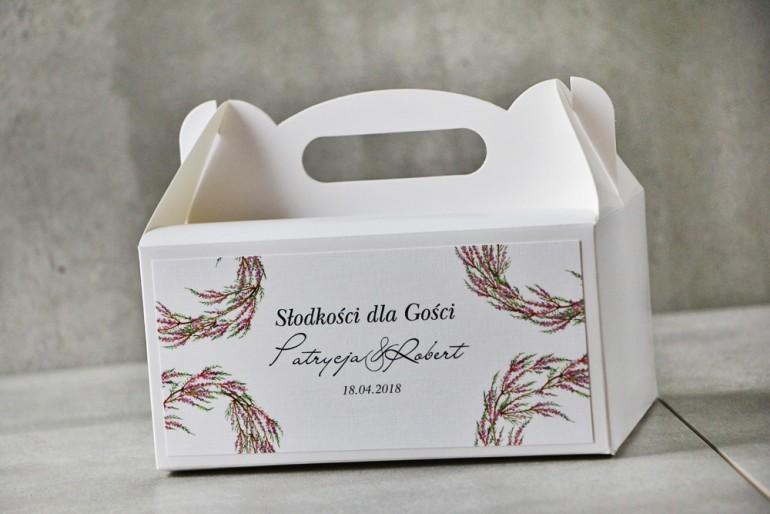 Prostokątne pudełko na ciasto, tort weselny, Ślub - Pistacjowe nr 22 - Jesienne wrzosy