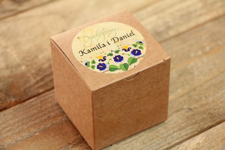 Podziękowania i upominki dla gości weselnych - ludowe Eco Pudełeczko. Grafika ze wzorem kaszubskim