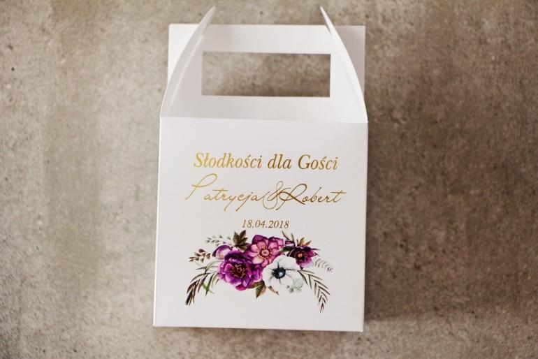 Pudełko na ciasto kwadratowe, tort wesleny - Cykade nr 1 ze złoceniem - Intensywnie fioletowe kwiaty