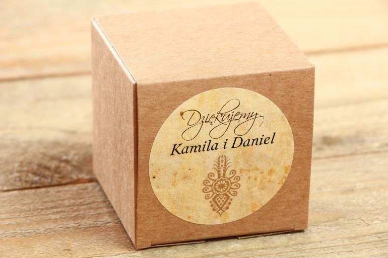Podziękowania i upominki dla gości weselnych - Góralskie, zakopiańskie Eco Pudełeczko z parzenicą