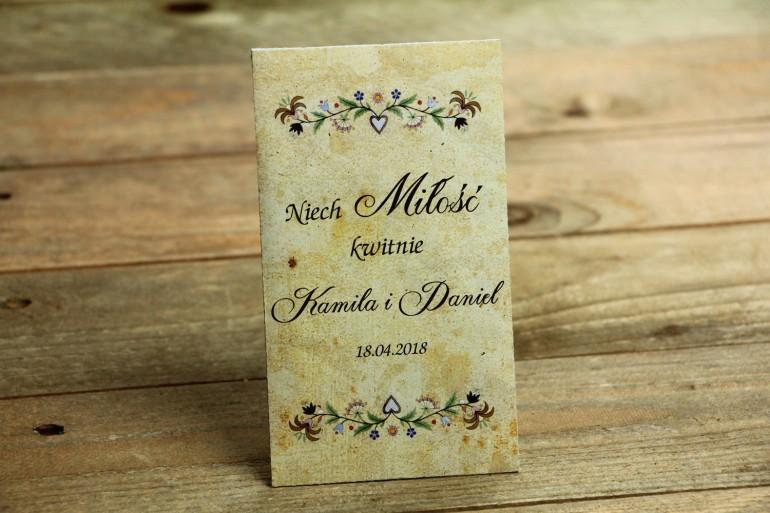 Ludowe Nasiona - podziękowania dla gości weselnych - grafika ze wzorem kaszubskim z delikatną folklorystyczną grafiką.