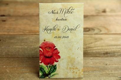 Ludowe Nasiona - podziękowania dla gości weselnych - Z folklorystyczną kwiatową grafiką