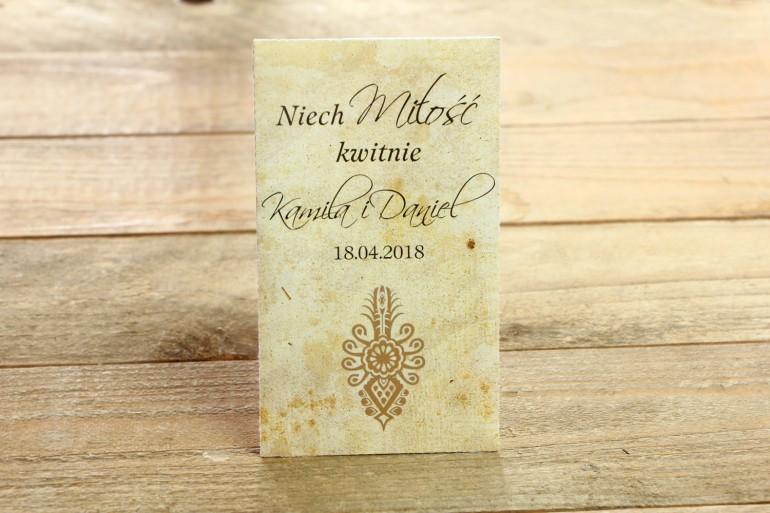 Nasiona - Góralskie, zakopiańskie podziękowania dla gości weselnych - grafika z parzenicą.