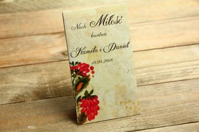 Nasiona - Ludowe podziękowania dla gości weselnych - z folklorystyczną kwiatową grafiką.
