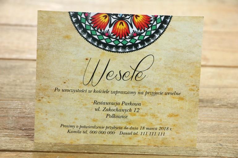 Bilecik do zaproszenia ślubnego - ludowe, łowickie. Bogata gama kolorów podkreśla folklorystyczny charakter