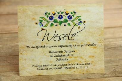 Bilecik do zaproszenia ślubnego - ludowe. Grafika ze wzorem kaszubskim z przewagą koloru niebieskiego i zielonego.