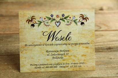 Bilecik do zaproszenia ślubnego - ludowe.. Ze wzorem kaszubskim z delikatną folklorystyczną grafiką.