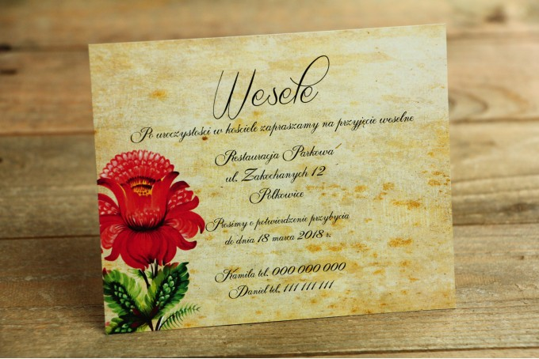 Bilecik do zaproszenia ślubnego - ludowe. Z folklorystyczną kwiatową grafiką