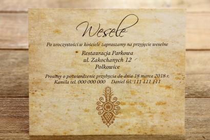 Bilecik do zaproszenia ślubnego - Góralskie, zakopiańskie. Grafika z parzenicą.