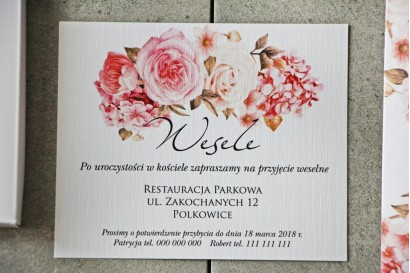 Bilecik do zaproszenia 120 x 98 mm prezenty ślubne wesele - Pistacjowe nr 23 - Bukiet pudrowo różowych kwiatów