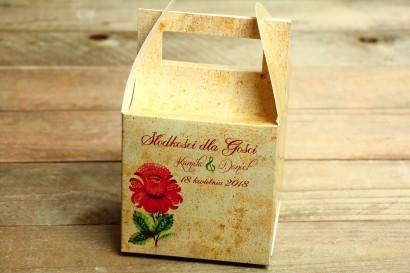 Ludowe Pudełko na Ciasto Weselne. Grafika z folklorystyczną kwiatową grafiką.