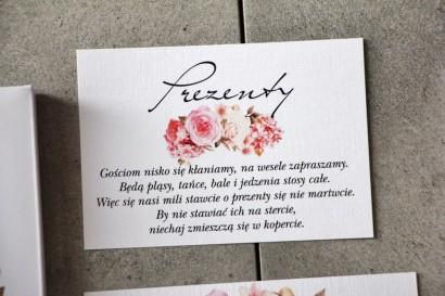 Bilecik 105 x 74 mm prezenty ślubne wesele - Pistacjowe nr 23 - Pudrowy bukiet