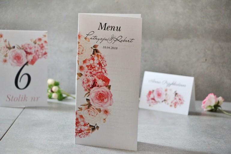 Menu weselne, ślub, stół weselny - Pistacjowe nr 23 - Kwiaty w odcieniach pudrowego różu