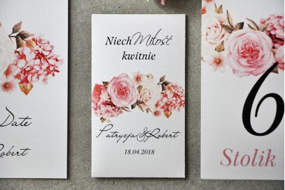 Podziękowania dla Gości weselnych - Nasiona Niezapominajki - Pistacjowe nr 23 - Pudrowo różowy bukiet