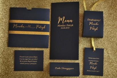 Zaproszenia ślubne w stylu Glamour ze złoceniem i ozdobnym brokatowym papierem. Kolor Granatowy.