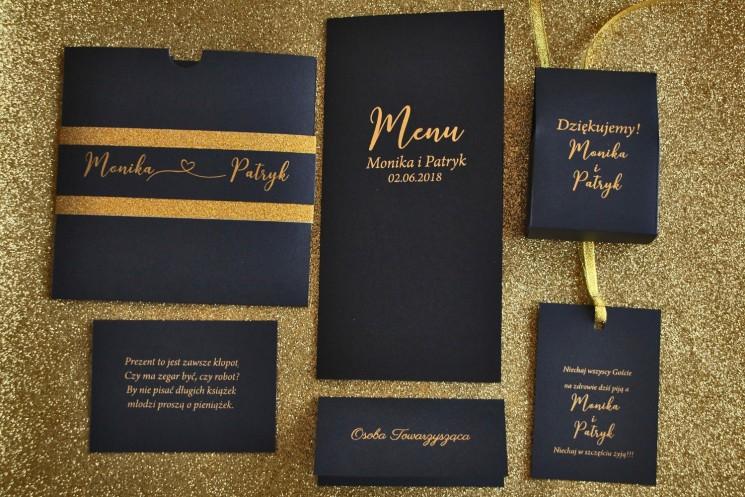 Zestaw próbny zaproszeń ślubnych wraz z dodatkami w stylu Glamour - nr 1