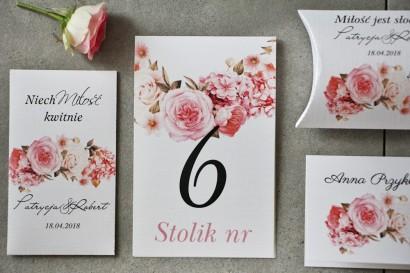 Numery stolików, stół weselny, Ślub - Pistacjowe nr 23 - Pudrowe kwiaty