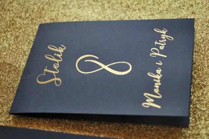 Numery stolików weselnych w stylu Glamour - Granatowe