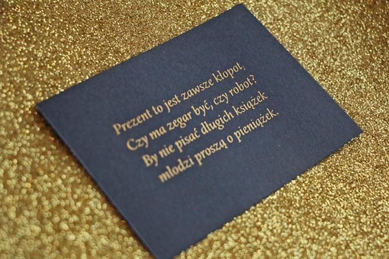 Bilecik do zaproszeń ślubnych w stylu Glamour, ze złoceniem, granatowy