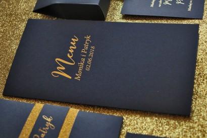Menu Weselne ze złoceniem w stylu Glamour - Granatowe