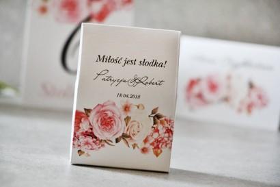 Pudełeczko stojące na cukierki, podziękowania dla Gości weselnych - Pistacjowe nr 23 - Kwiaty w odcieniach pudrowego różu