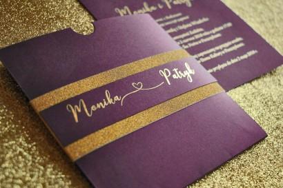 Zaproszenia ślubne w stylu Glamour ze złoceniem i ozdobnym brokatowym papierem. Kolor Fioletowy - Glamour nr 4