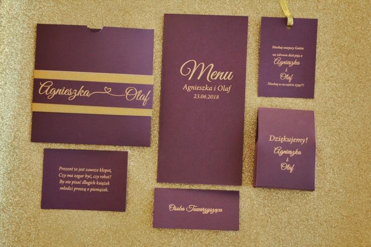 Zestaw próbny zaproszeń ślubnych wraz z dodatkami w stylu Glamour - nr 4