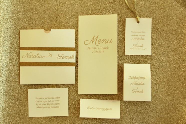 Zestaw próbny zaproszeń ślubnych wraz z dodatkami w stylu Glamour - nr 5