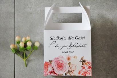 Pudełko na ciasto kwadratowe, tort weselny - Pistacjowe nr 23 - Delikatne pudrowe kwiaty