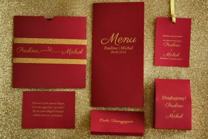 Zestaw próbny zaproszeń ślubnych wraz z dodatkami w stylu Glamour - nr 2