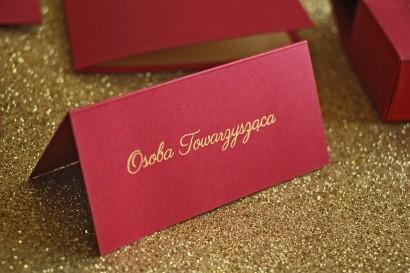 Winietki ślubne, wizytówki na stół weselny ze złoceniem w stylu Glamour - Bordowe
