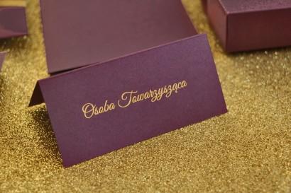 Winietki ślubne, wizytówki na stół weselny ze złoceniem w stylu Glamour - Fioletowe